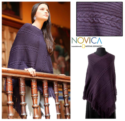NOVICA+Alpaca+Wool+Poncho+Double+Plum+Braids+4 Whats In Santas Sleigh?: NOVICA.com Alpaca Wool Poncho Review