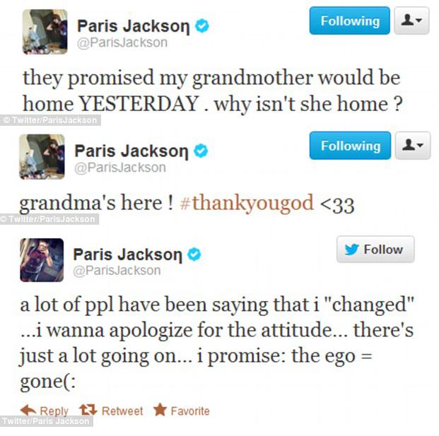 Paris Jackson Apology Tweets