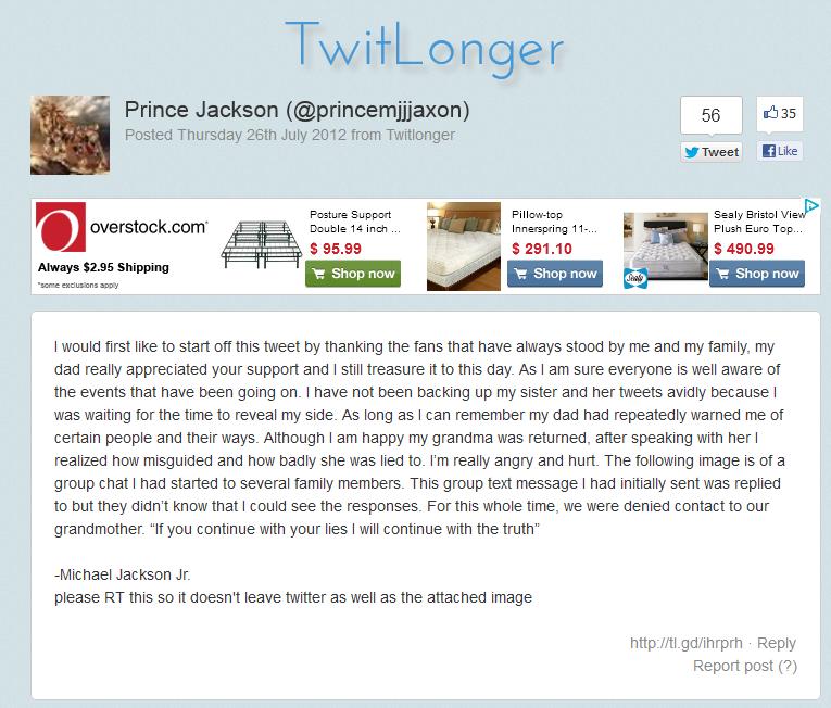 Prince Jackson Tweet