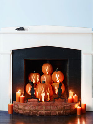 pumpkinideas pumpkfireplace mdn Cool Halloween Pumpkins